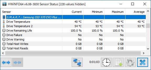 Samsung SSD 970 EVO PlusはコントローラとNANDフラッシュにそれぞれ温度計を備える。Drive Temperature 1がNANDフラッシュで、Drive Temperature 2がコントローラ。
