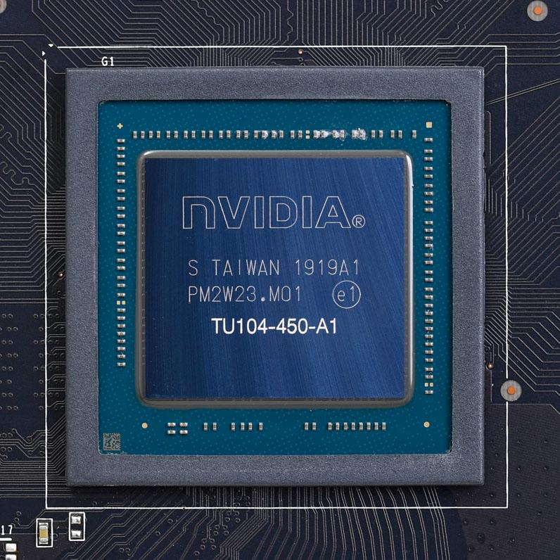 リアルタイム・レイトレーシングを筆頭に多くの付加機能を搭載するGeForce RTX 20シリーズ。写真は最新のRTX 2080 SUPERのチップ