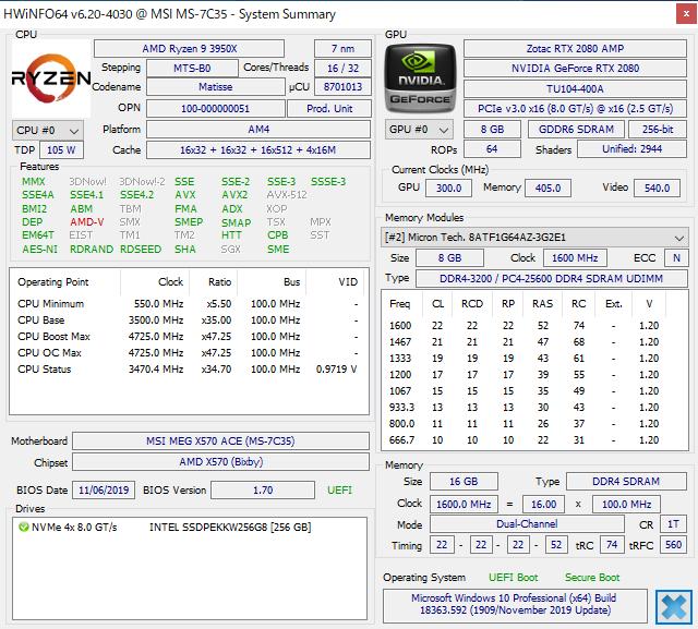 DDR4-3200対応のスタンダードメモリのSPD情報。下位互換のためDDR4-2666やDDR4-2400の設定値なども持っている。