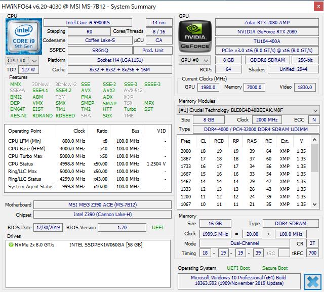 DDR4-4000対応のオーバークロックメモリのXMP情報。JEDECの標準規格とは異なるメモリメーカーがカスタムした設定値が記録されている。