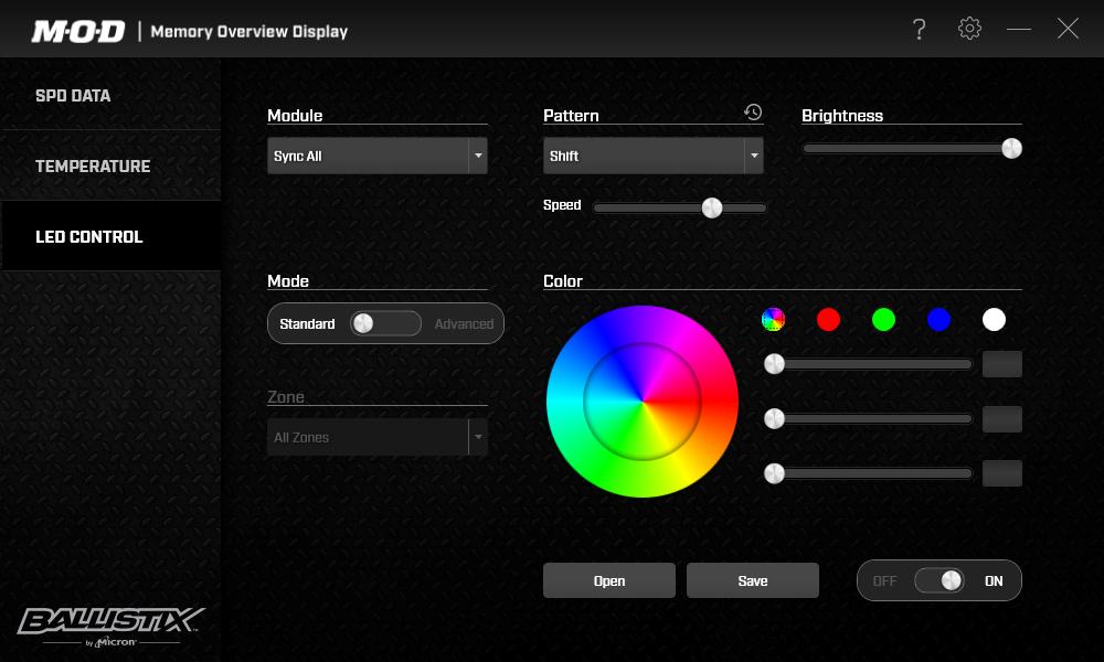 CrucialのLEDユーティリティ「DDR4 Ballistix M.O.D.ユーティリティ」。同社のメモリが搭載するRGB LEDの発光を制御できる。