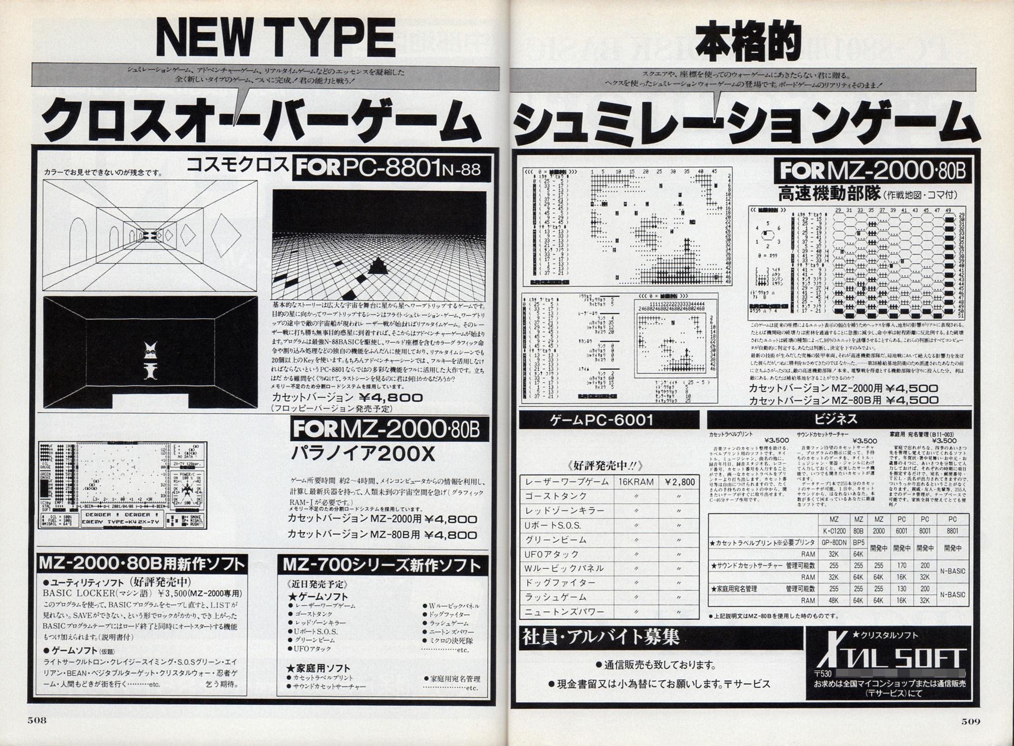 『パラノイア200X』は、『スタートレック』のように宇宙空間を飛び回り、敵を発見すると『コスモクロス』ライクなシューティングシーンへと変わるクロスオーバーゲームだ。対応機種がMZ-2000とMZ-80Bだけというのは珍しく、同じように対応機種がPC-6001のみというゲームも10本リリースしている。