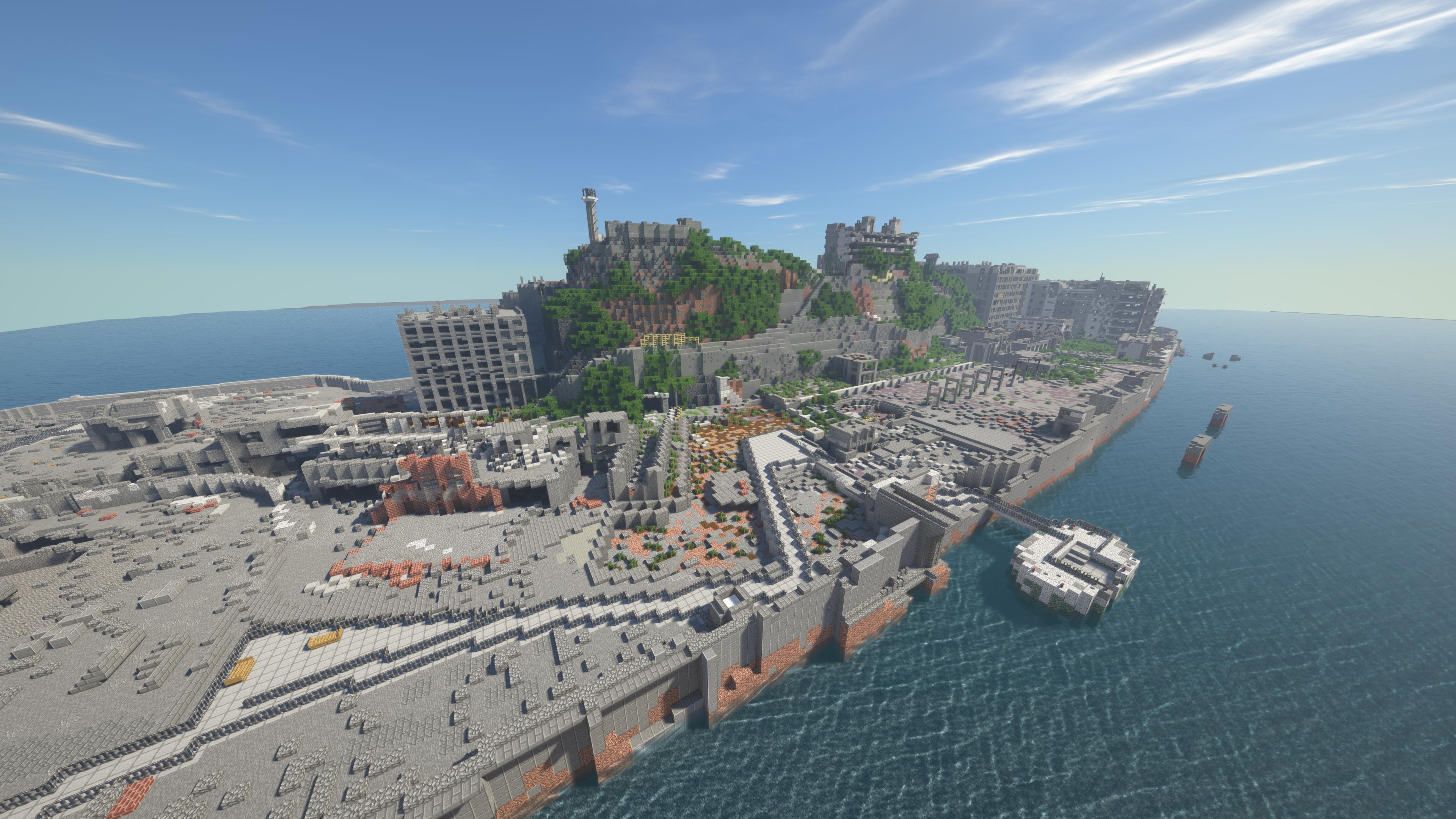 Minecraftで制作した1/1スケールの軍艦島。かとりく氏のTwitter(@land_ineraf37)でJava版、スマホ版の両方のワールドデータが配布されている