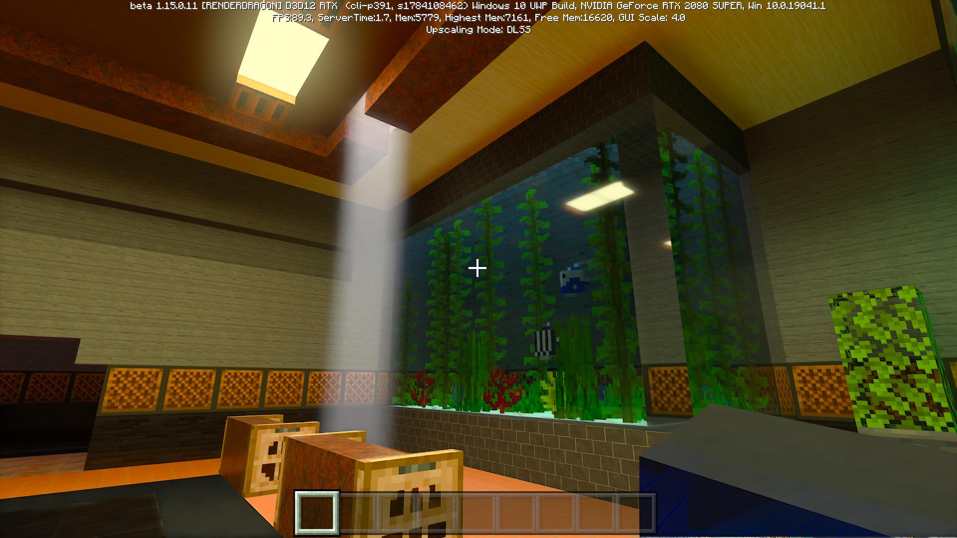 天井から光が射し込むなど、いわゆるゴッドレイも見事に表現。水槽内の陰影もリアルだ