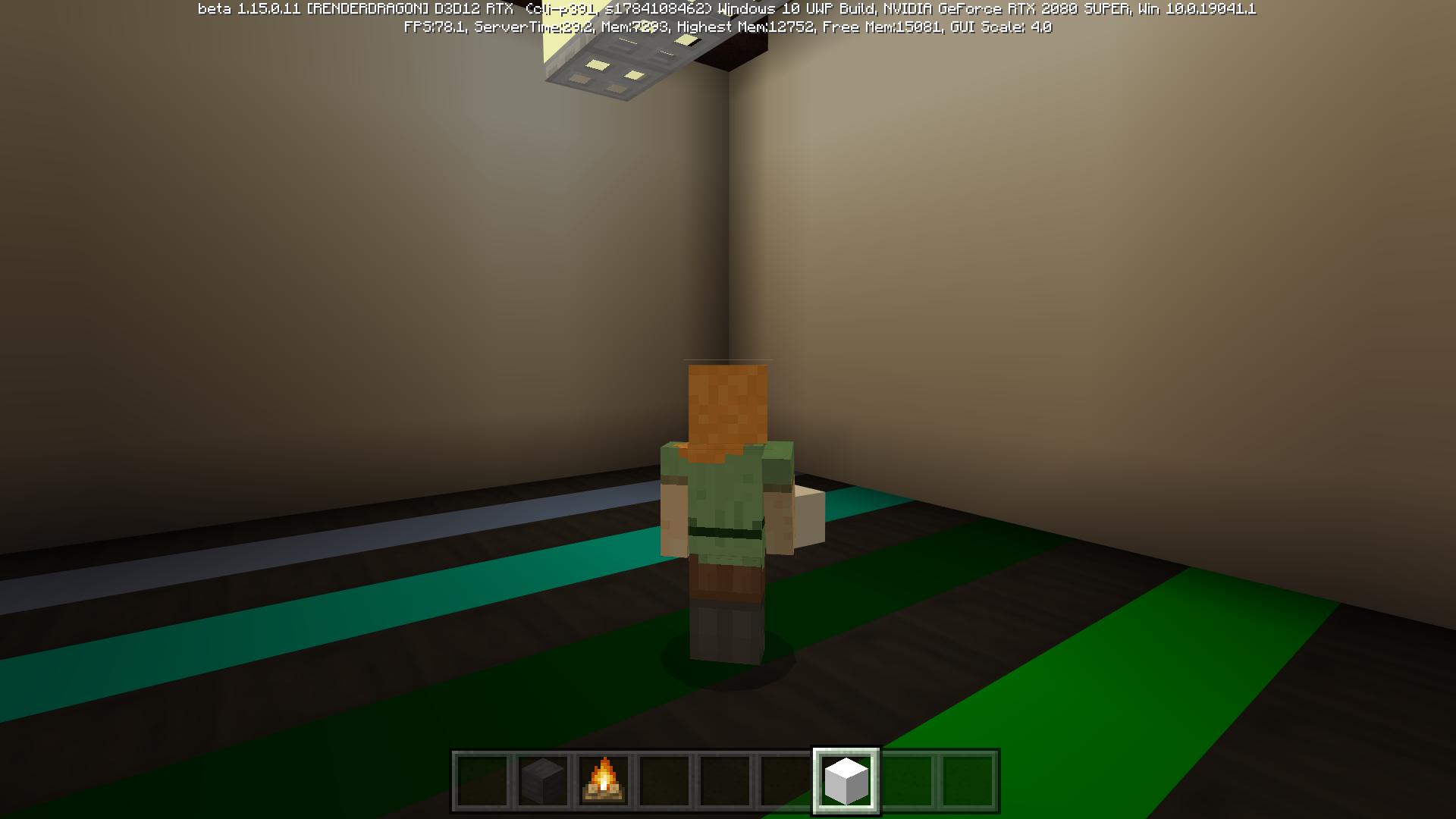 全反射するブロックを使うと鏡の反射によって無限に広がるような部屋も作れる(右)。レイトレーシングをOFFにするとただのブロックだ(左)
