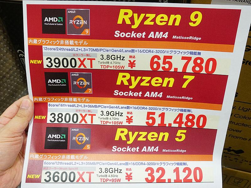 Ryzen 3000XTシリーズの価格