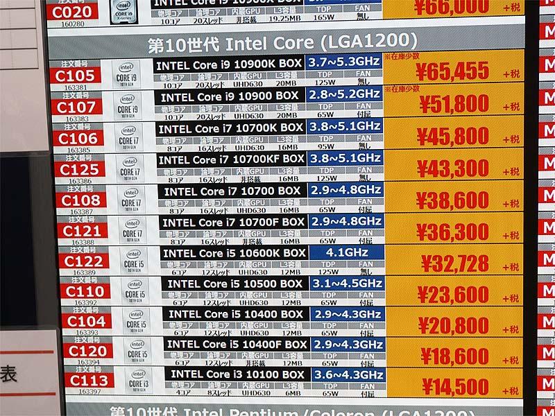 第10世代Coreシリーズが大きく値下がり(7月23日に撮影)