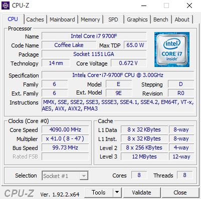 CPU-ZによるCPUのステータス情報。