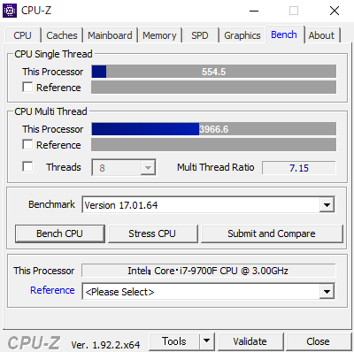 CPU-Zのベンチマーク結果。