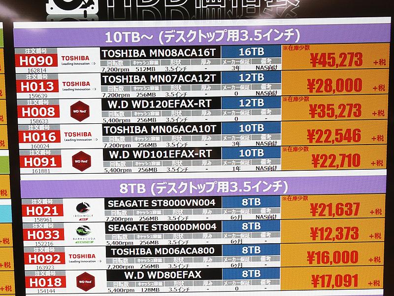 東芝のNASA向け16TB「MN08ACA16T」が税抜き45,273円(税込49,800円)