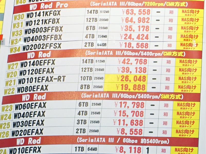 9月12日(土)にWesternDigital WD Red「WD140EFFX」が通常の最安値より1万円程安い税込42,768円に急落