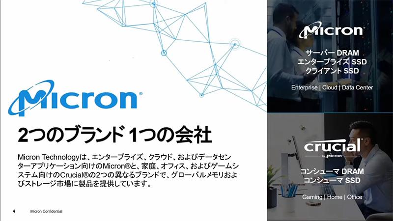 MicronとCrucialの2ブランドを展開