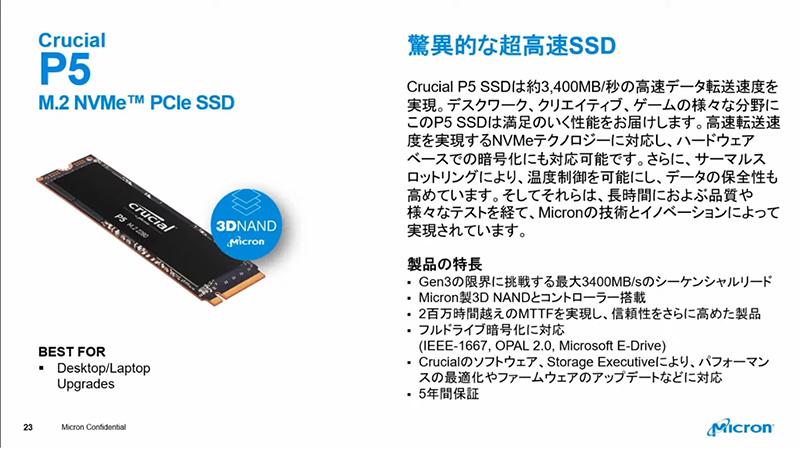 NVMe接続の高速M.2 SSD「P5」