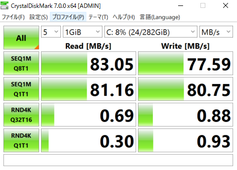 5,200rpmSATA接続HDDとしては標準的な速度がでている。