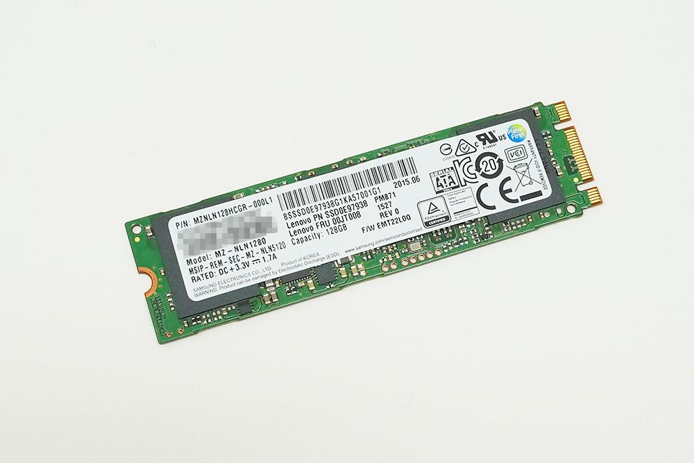 PCに搭載されていたSamsung MZNLN128HCGR-000L1。