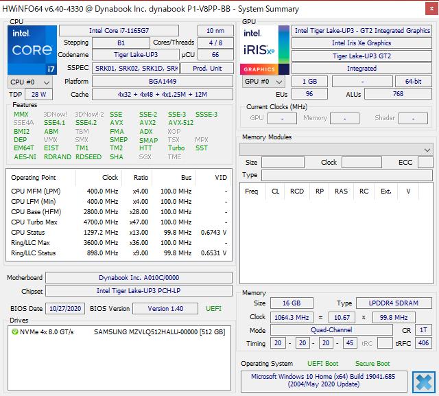 GPUにXe-LP(Iris Xe)を搭載した第11世代Core CPUを採用。