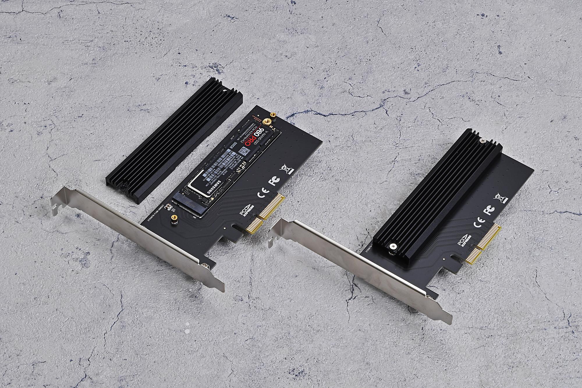 アイネックスの「AIF-10」。NVMe対応のM.2スロットを1基備え、冷却用のヒートシンクも付属する。PCI Express 4.0にも対応する拡張カードだ