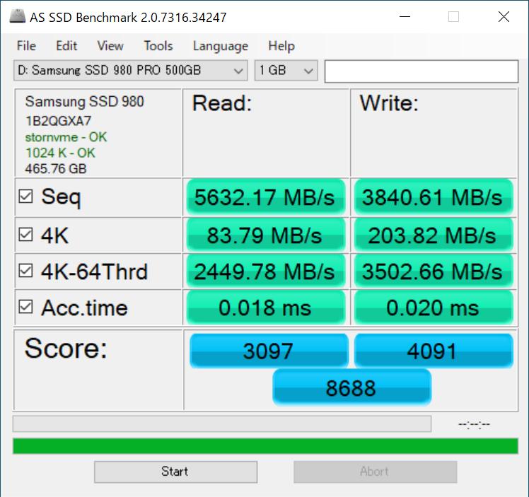 SSD 980 PRO×1枚時のAS SSD Benchmarkの計測結果