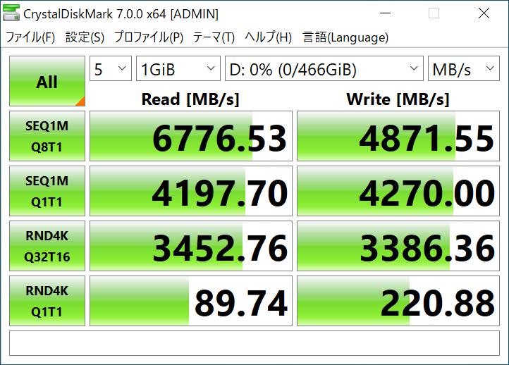SSD 980 PRO×1枚時のCrystalDiskMark 7.0.0hの計測結果