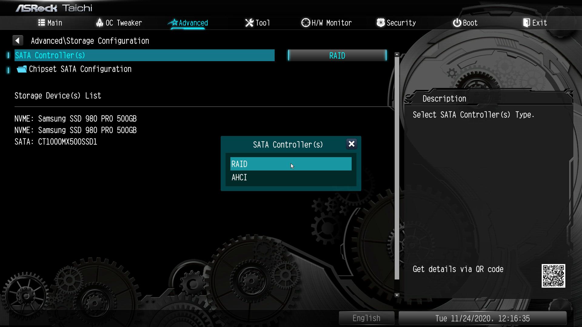 UEFIメニューの「Advanced」にある「SATA Controller(s)」を「RAID」に設定