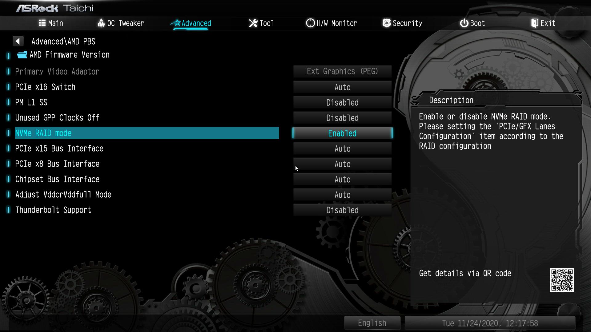 同じく「Advanced」→「AMD PBS」にある「NVMe RAID mode」を「Enabled」にする