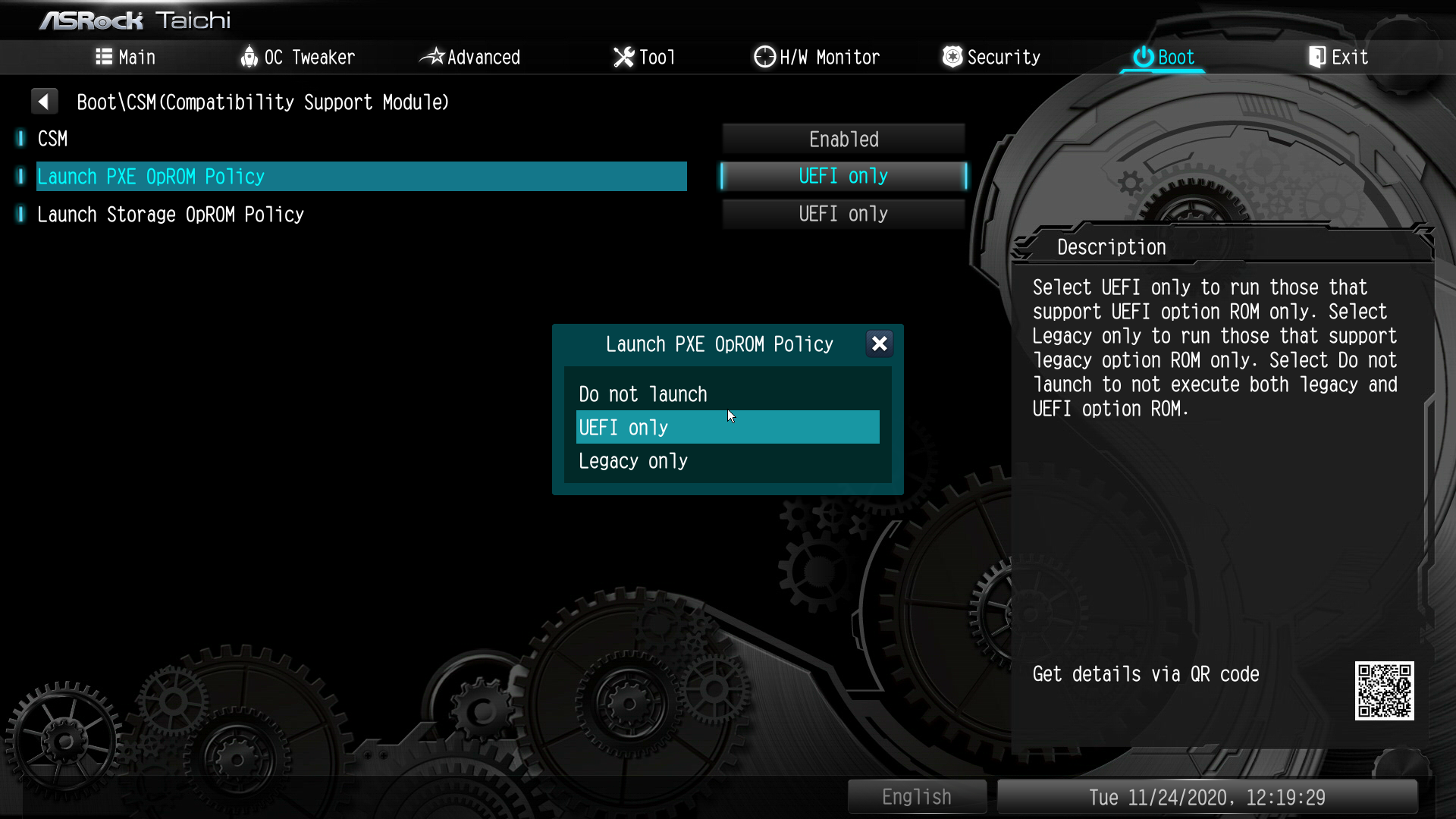 「Boot」→「CSM(Compatibility Support Module)」→「Launch PXE OpROM Policy」を「UEFI only」にする