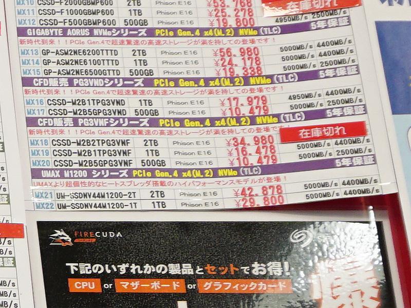 PCIe 4.0(Gen4)ではCFD販売「PG3VND」の500GBが税込10,479円に急落