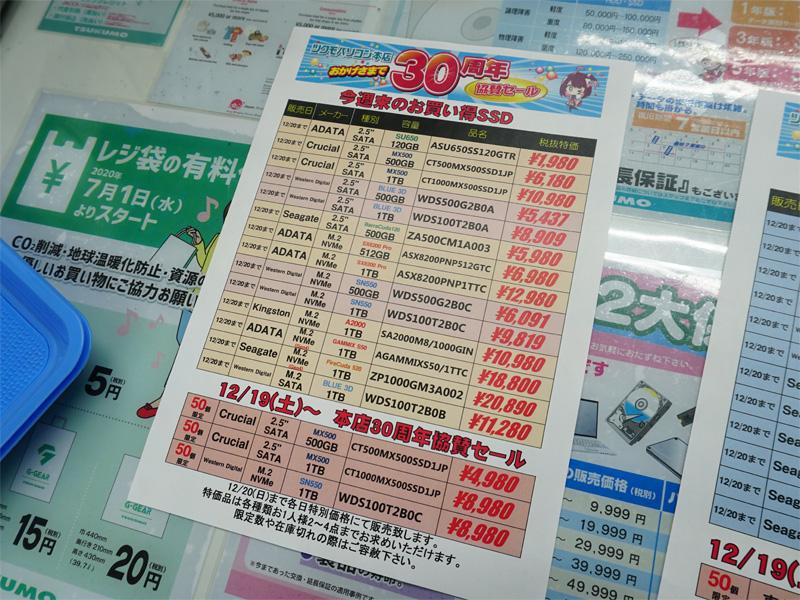 19日(土)にはWD BlueやMX500の1TBが1万円割れ(POPの価格は税抜き)