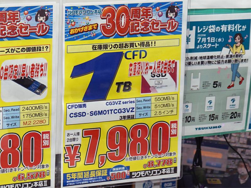 19日(土)にCFD販売「CG3VZ」の1TBが税抜き7,980円(税込8,778円)を付けた