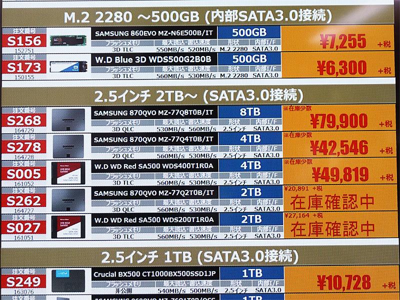 Samsung「870 QVO」の4TBがが税抜き42,546円(税込46,800円)に