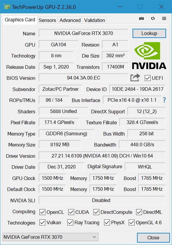 「GPU-Z」でRTX 3070 AMP Holoの情報を拾ってみた。ブーストクロック1,785MHz設定が確認できる