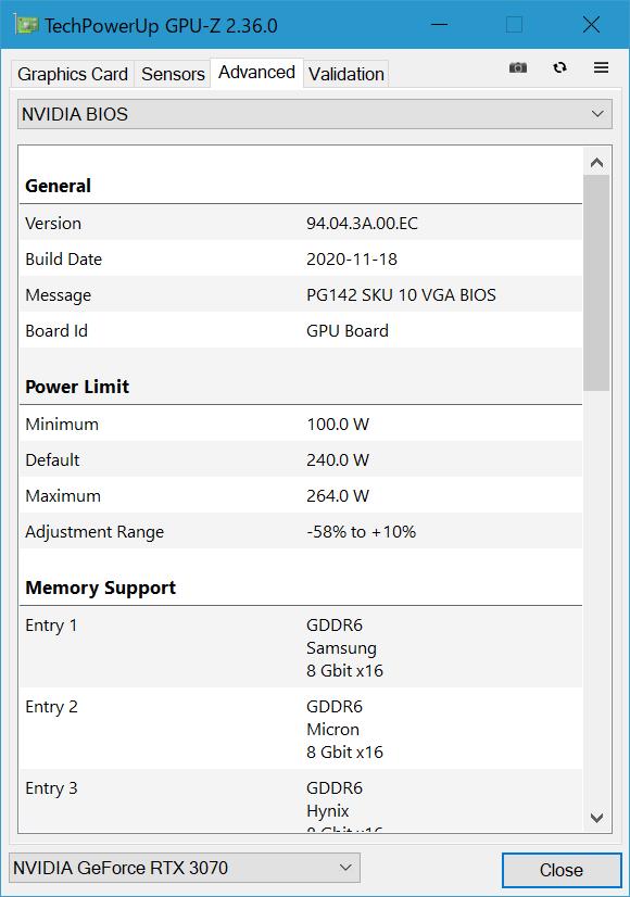 Power Limit(NVIDIAの言うところのTGP)は定格240W。OCツールにより最大264Wまで引き上げることができる