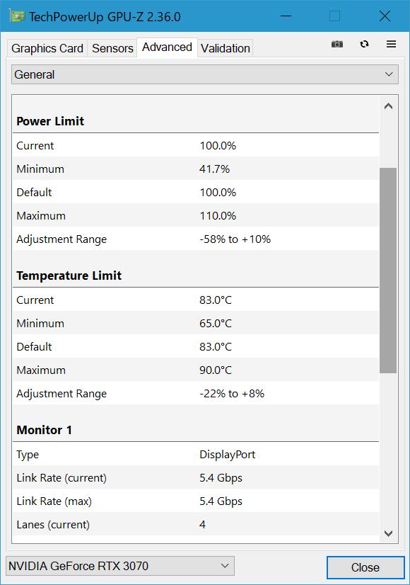 GPU温度は83℃(最高でも90℃)を超えないように運用される設計と読み取れる