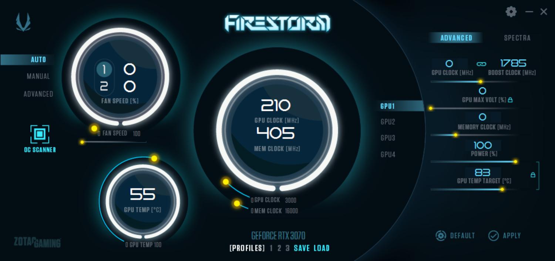 オーバークロックとLEDの発光制御用のツール「FireStorm」