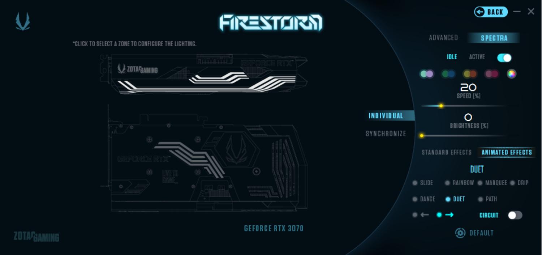 FireStormのLED設定画面。発光する部位はカバー上部&ZOTACロゴ、そして背面。それぞれに好きな発光色やパターンを設定することが可能だ