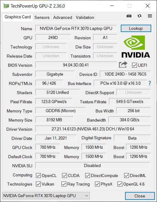 「GPU-Z」で搭載されているGPUの情報を拾ってみた。ブーストクロックは1,290MHzで、デスクトップ向けのRTX 3070に比べるとだいぶ低く設定されている