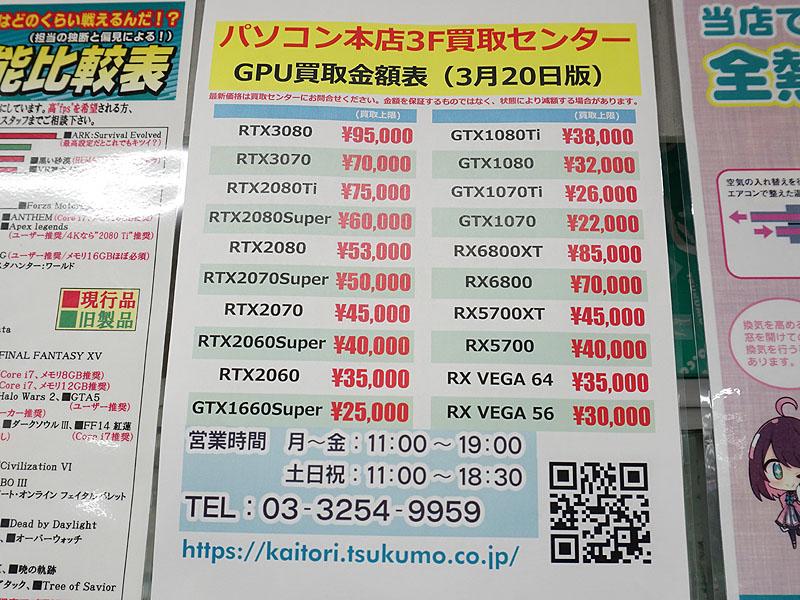 ツクモの買取価格(3月20日時点)