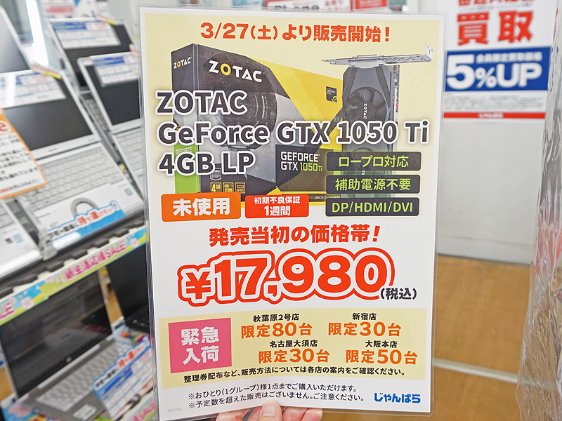 "ZOTAC製の「GeForce GTX 1050 Ti Low Profile(ZT-P10510E-10L)」の未使用品が<a href=""https://akiba-pc.watch.impress.co.jp/shop/junk/janpara2.html"" class=""deliver_inner_content i"">じゃんぱら秋葉原2号店</a>で27日に販売予定"