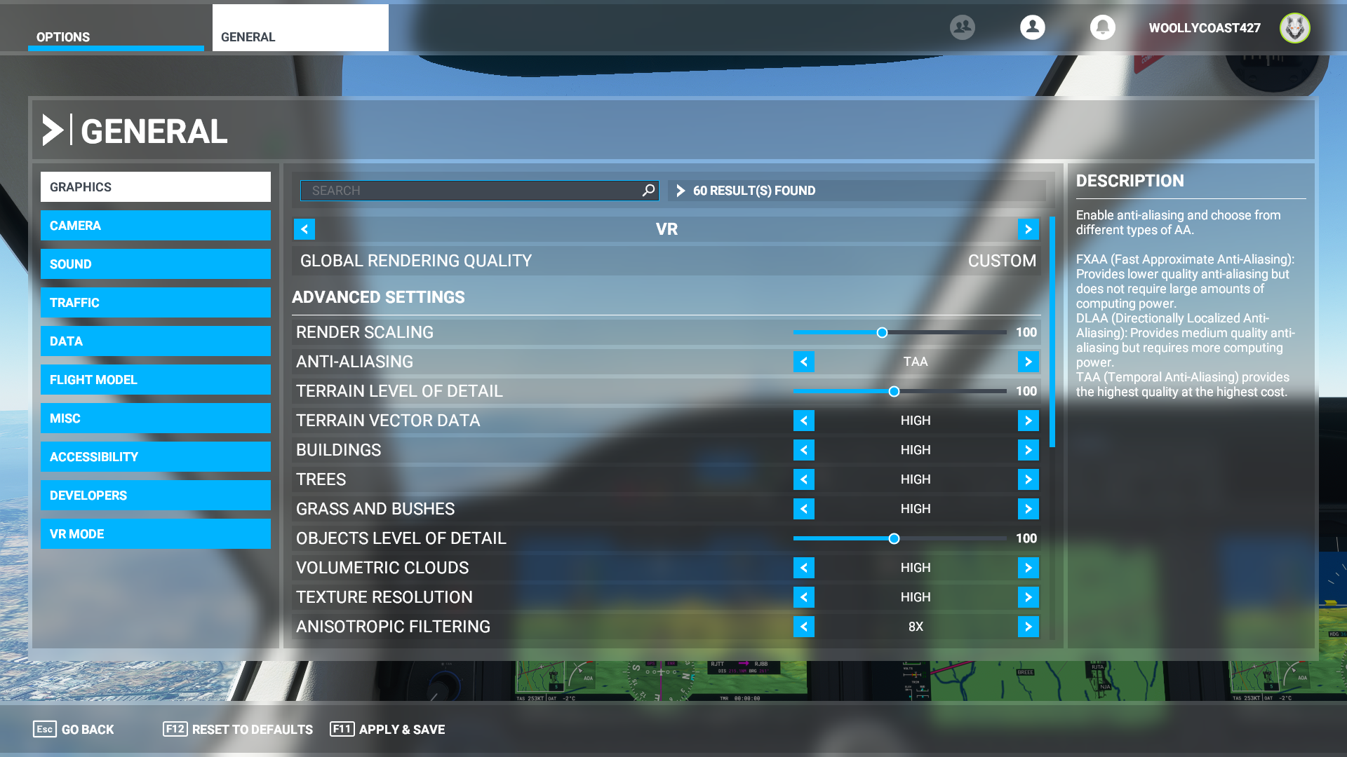 Microsoft Flight Simulatorのグラフィック設定。レンダリング解像度は100%(2,016×2,240ドット)で、その他の設定は通常モードのプリセット「HIGH-END」に準じた設定を適用している。