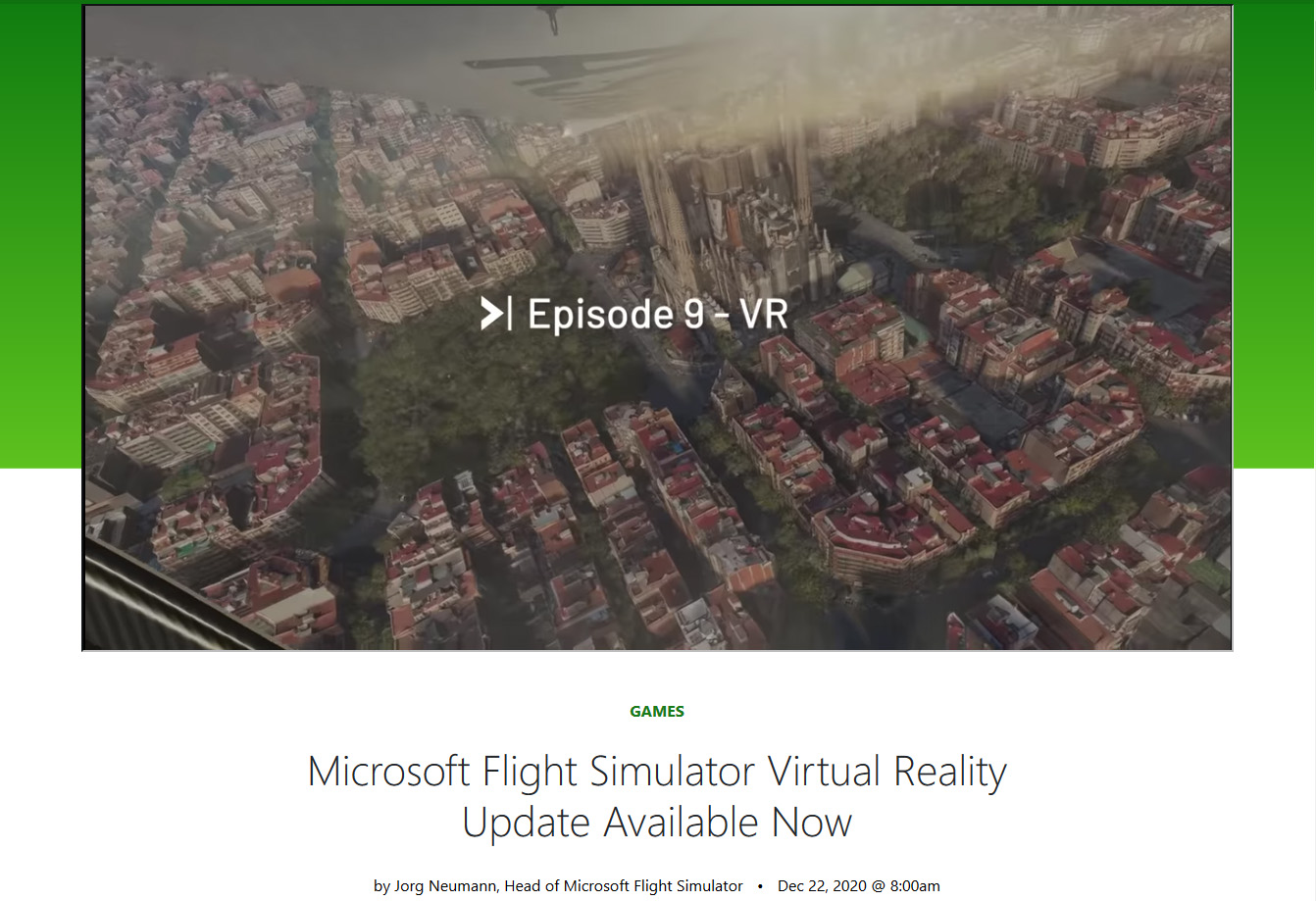"Microsoft Flight SimulatorのVRモードは<a href=""https://news.xbox.com/en-us/2020/12/22/microsoft-flight-simulator-virtual-reality-update-available-now/"" class=""deliver_inner_content i"">昨年末のアップデートで実装された</a>機能。"