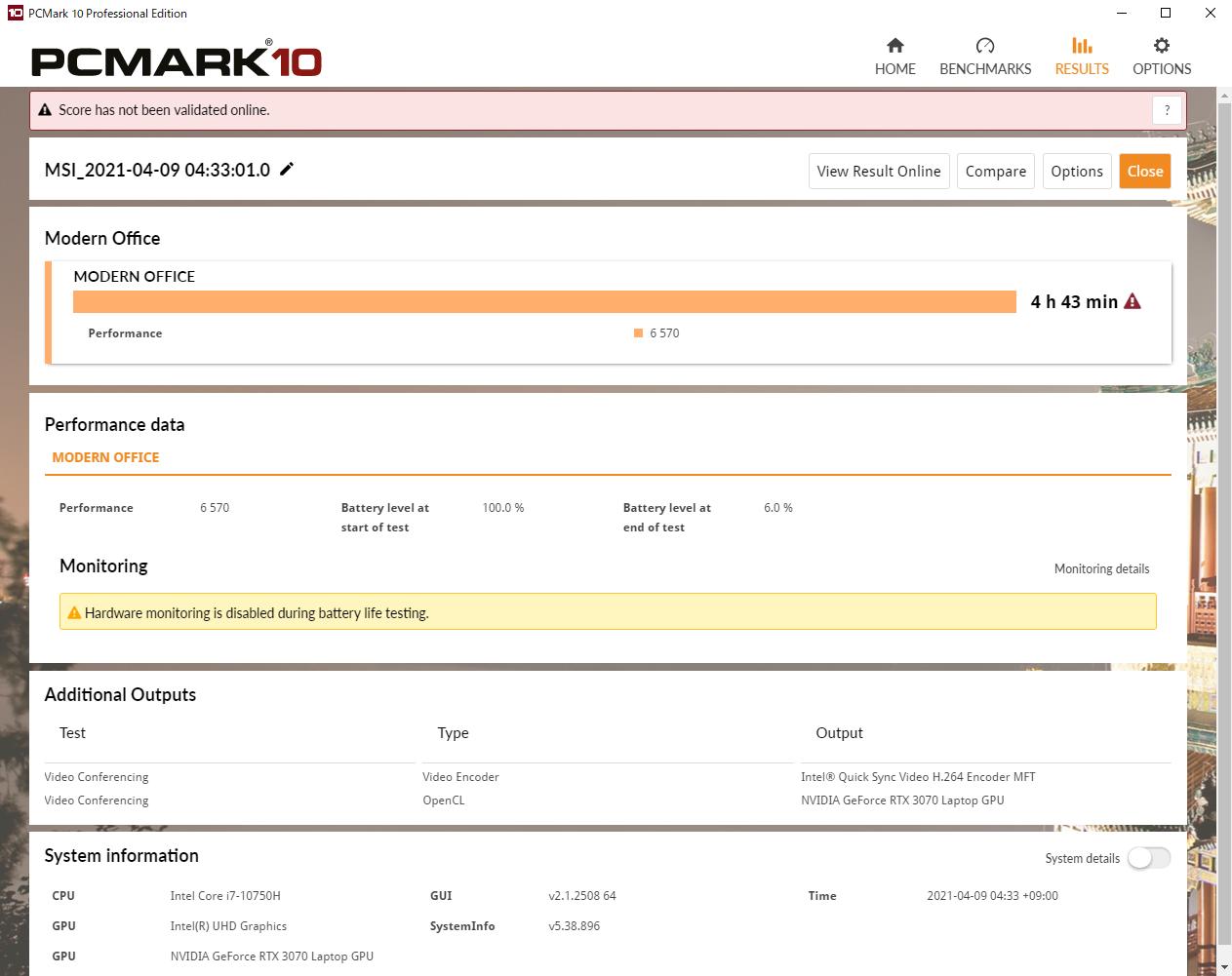 事務ワークで利用した際にバッテリー駆動でどの程度利用できるのか、PCMark 10で計測したところ時間は4時間43分だった。これだけの駆動時間が確保できれば、発表会取材の後にそのまま打ち合わせに持ち込んでもゆとりがあるので、外でも安心して使える印象だ。