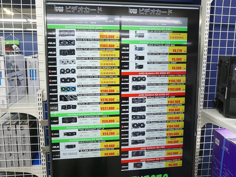 16日(金)時点のビデオカード価格表