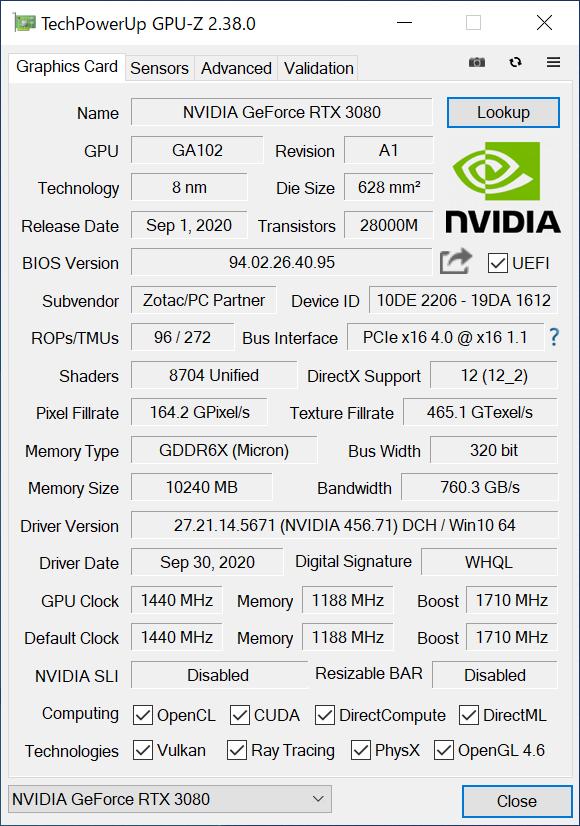 GPU-Zでの表示。ブーストクロックは定格の1,710MHz