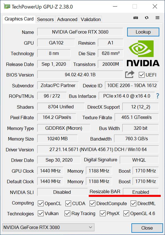 再起動後、Resizable BARに対応しているか確認しておこう。画面は「GPU-Z」