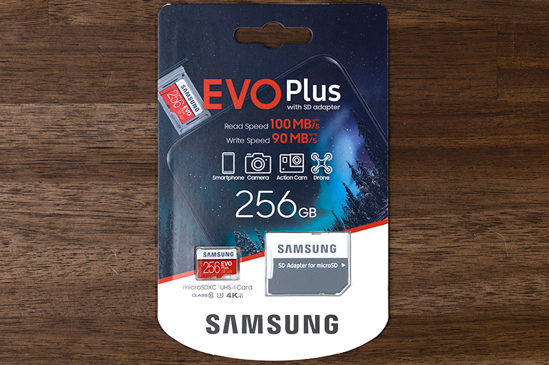 Samsung microSD EVO Plus 256GBのパッケージ