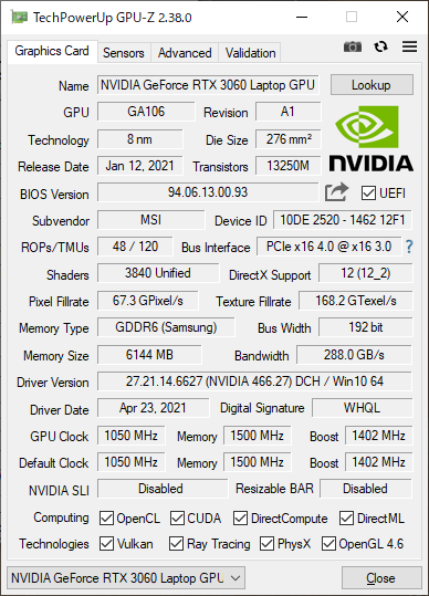 GPUのGeForce RTX 3060 Laptop GPU。6GBのGDDR6メモリを搭載している。