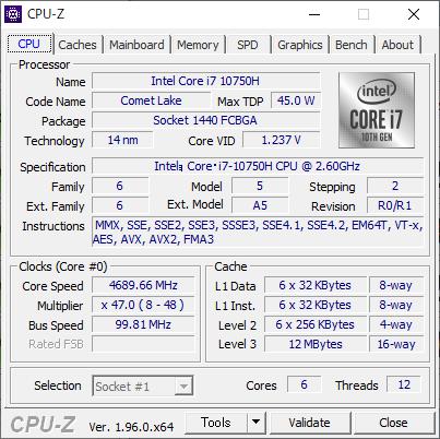 Intelの6コア12スレッドCPU「Core i7-10750H」を搭載。