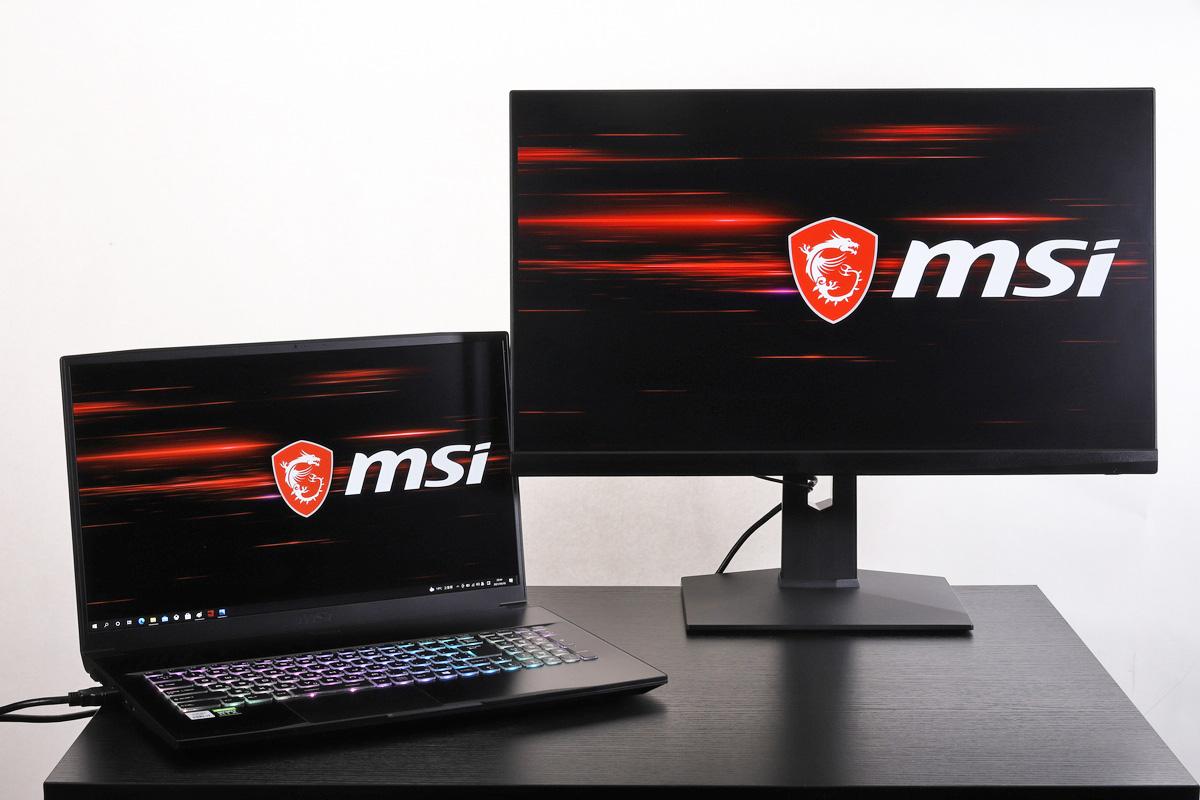 24.5型ゲーミングモニター「MSI Optix MAG251RX」。