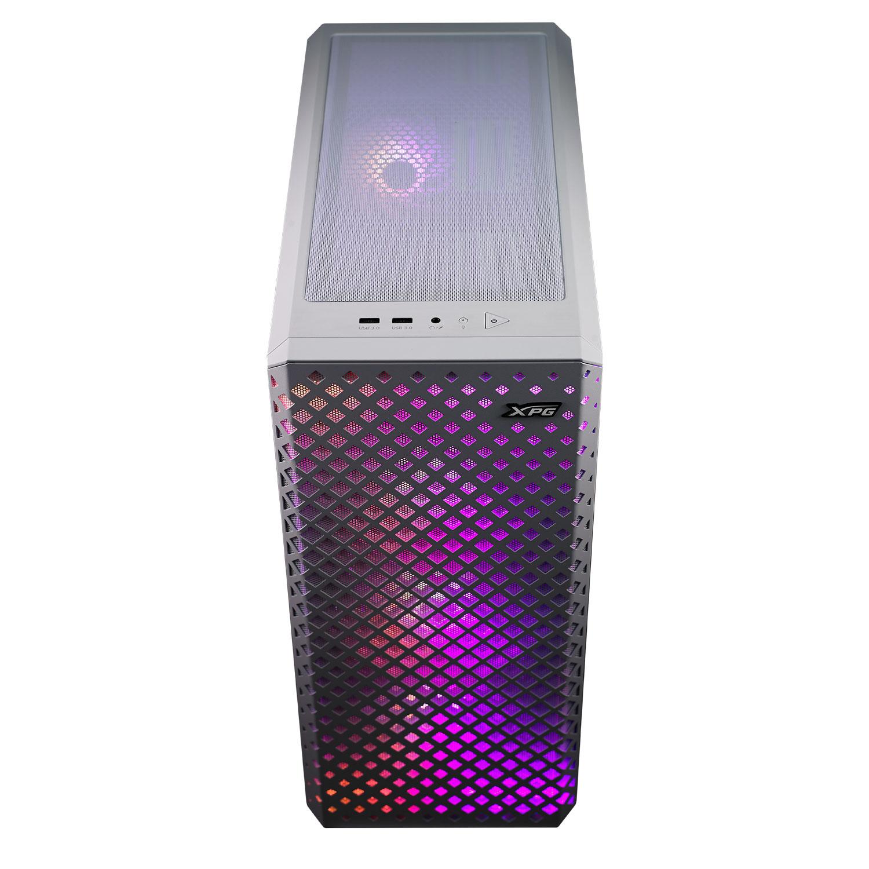 メッシュ構造を各部に取り入れた冷却性能重視の構成。メッシュ越しに見えるARGB LEDの光も印象的