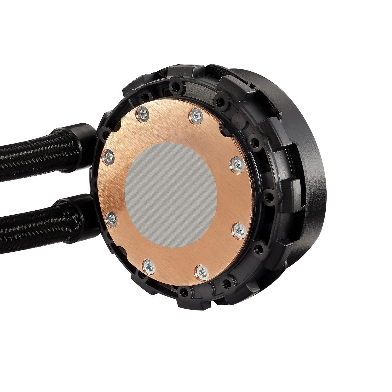銅製水冷ヘッドに27mm厚ラジエータ、2基の12cm角ファンを組み合わせた構成